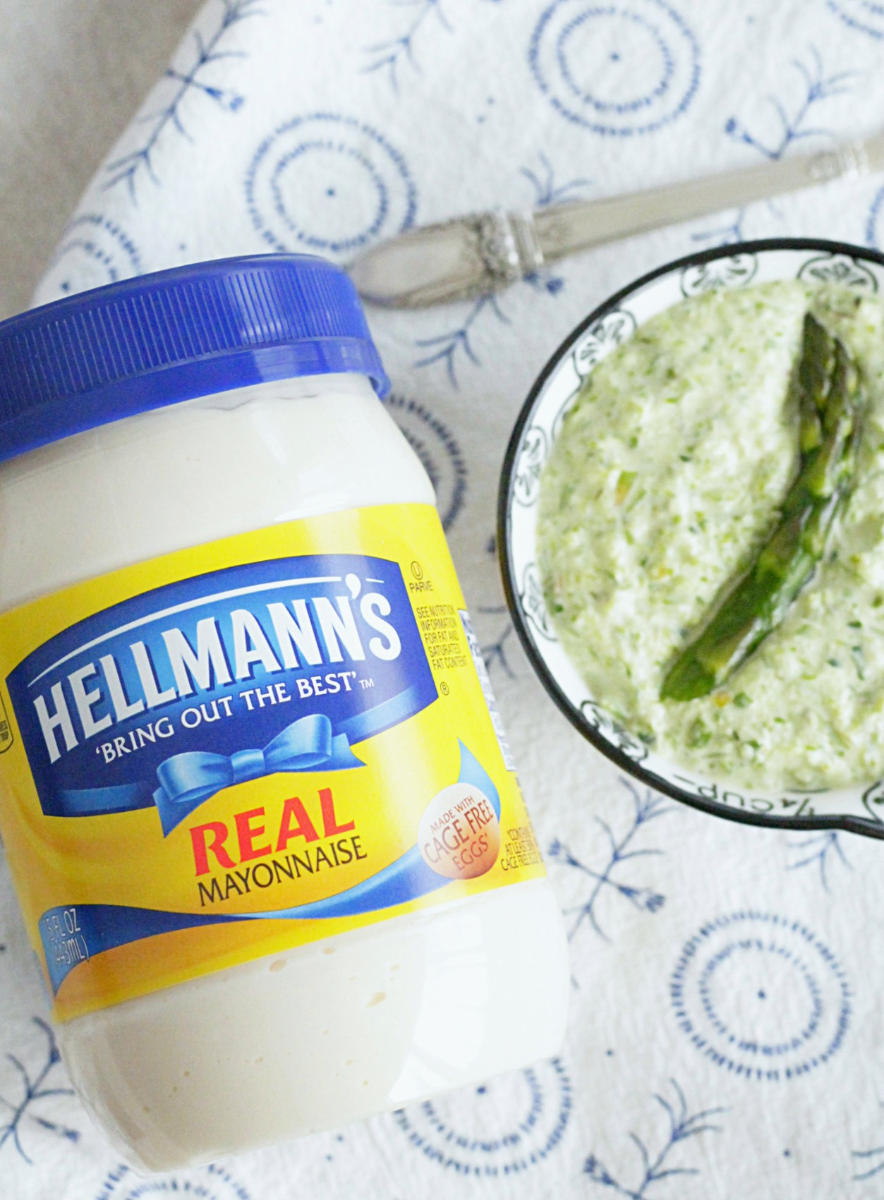 jar of hellmann's mayonnaise next to small bowl of asparagus mayonnaise