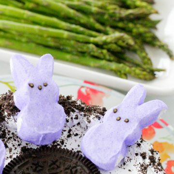 OREO ice cream cake with lavender marshmallow bunnies and roasted asparagus in background