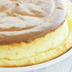 close up of classic cheese soufflé showing crown