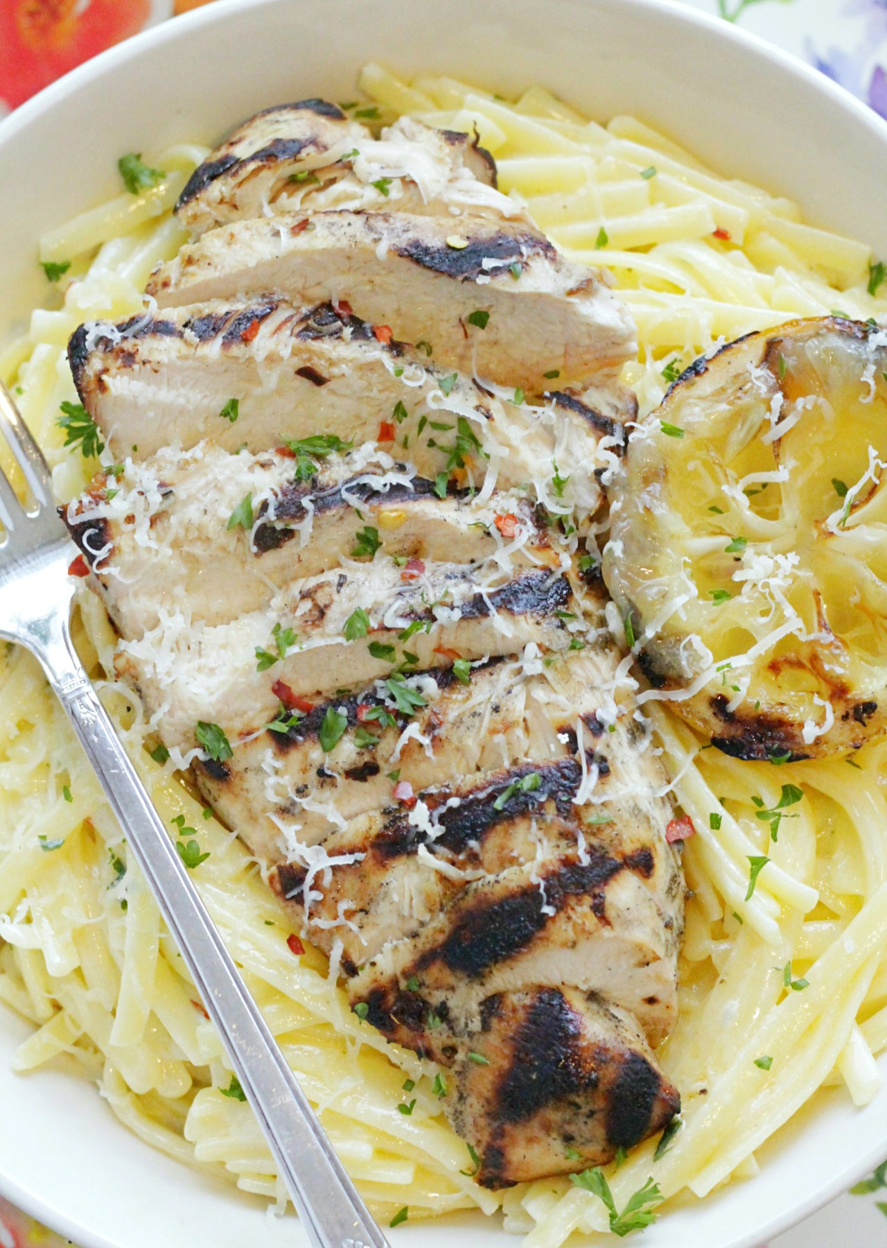 grilled lemon chicken Alfredo in a bowl