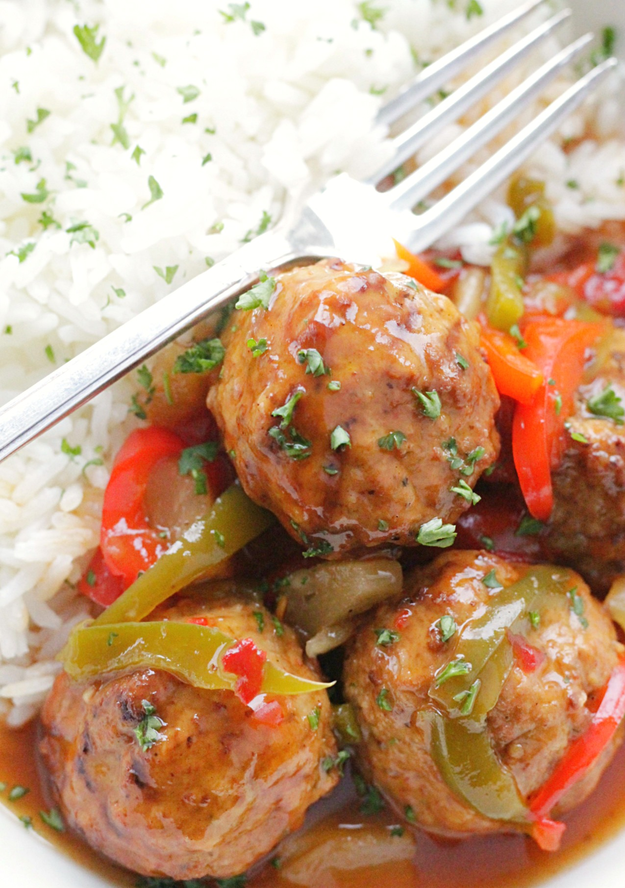 slow cooker sweet and sour meatballs with white rice