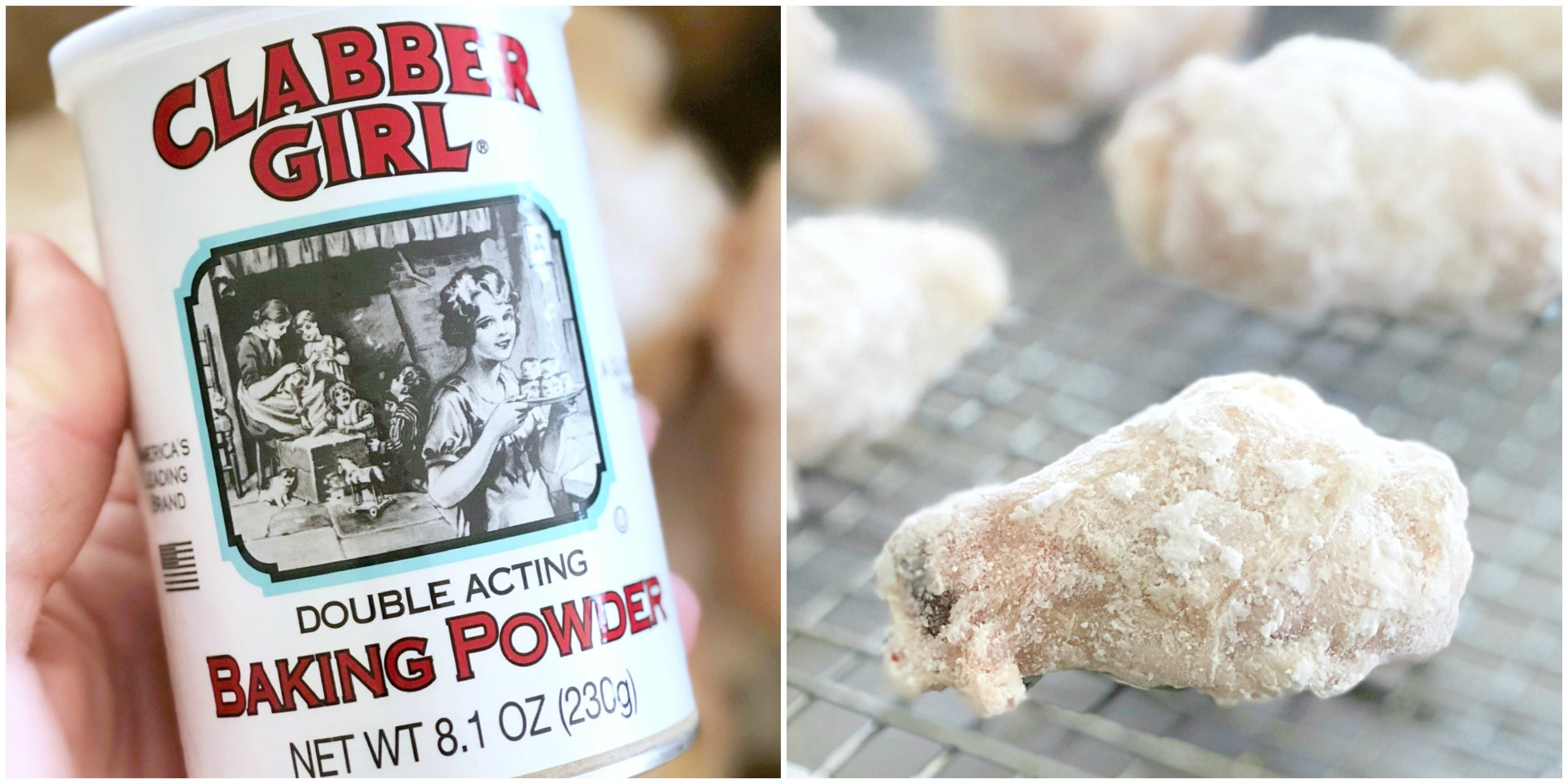 picture of baking powder plus picture of frozen wings coated in baking powder