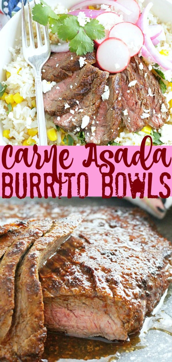 Grilled Carne Asada Burrito Bowls | Foodtastic Mom #ad #ohbeef #grillingrecipes #grilledbeefrecipes #cincodemayo #burritobowl #steakrecipes
