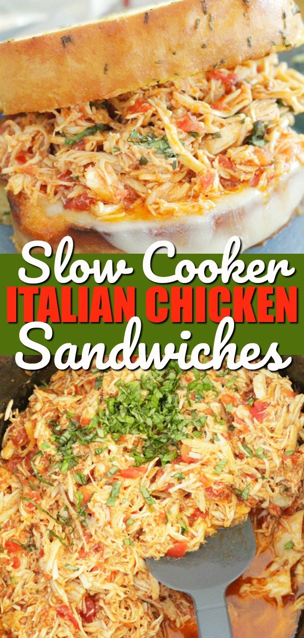 Slow Cooker Italian Chicken Sandwiches | Foodtastic Mom