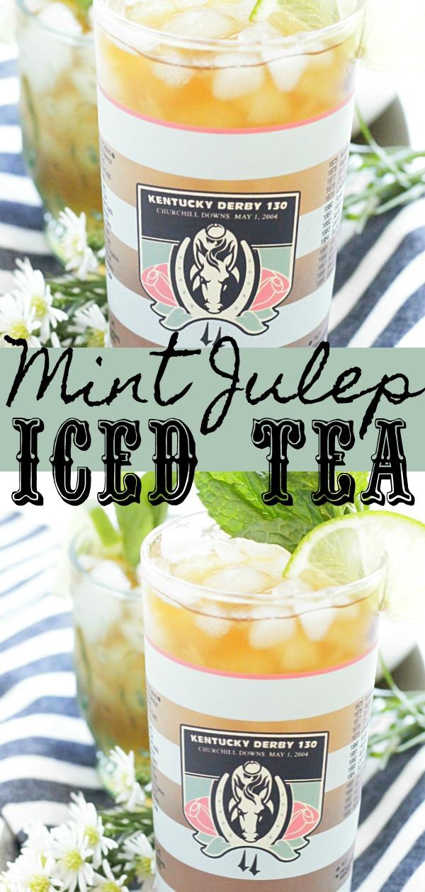 Mint Julep Iced Tea | Foodtastic Mom #icedtea #icedteacocktail #mintjulep #mintjuleprecipe #kentuckyderby