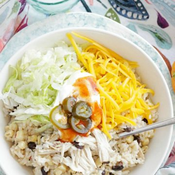 top view of simple chicken burrito bowls