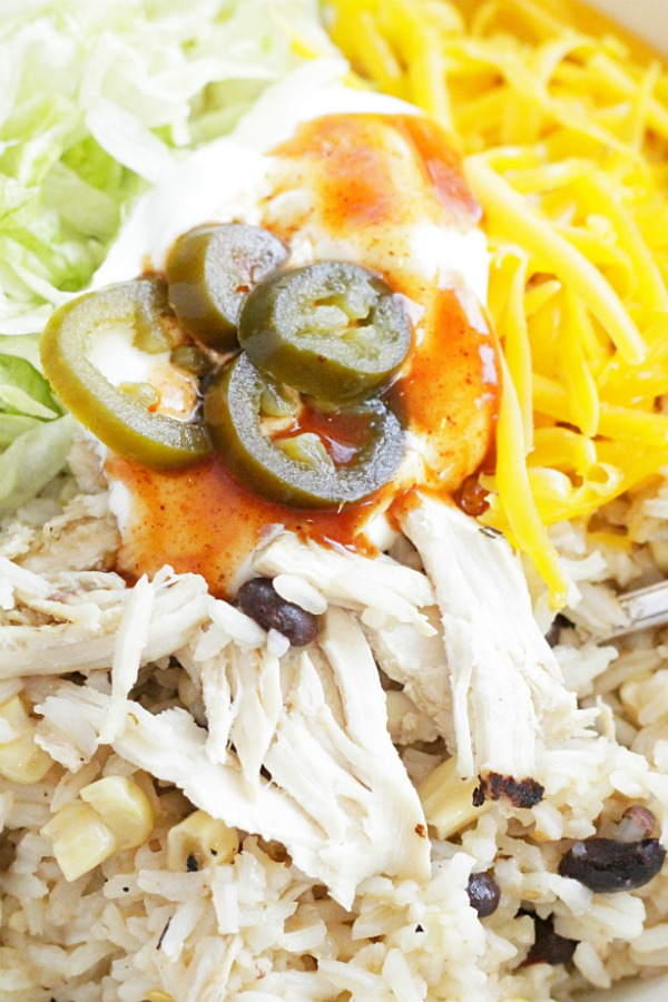 close up view of simple chicken burrito bowls