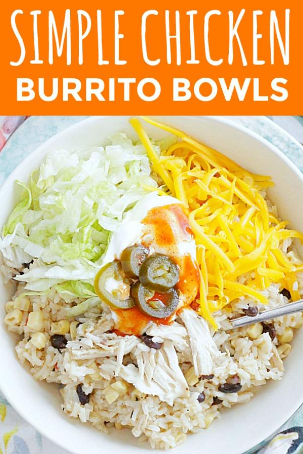 Simple Chicken Burrito Bowls   Foodtastic Mom #burritobowl #ricerecipes