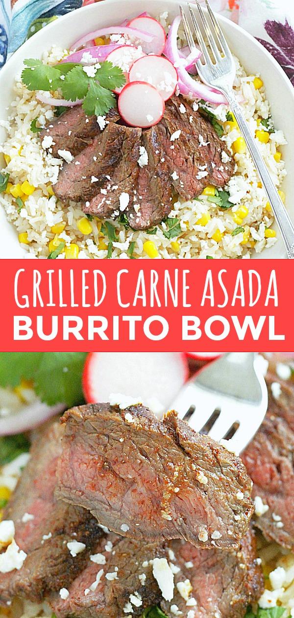 Grilled Carne Asada Burrito Bowls | Foodtastic Mom #carneasada #burritobowl