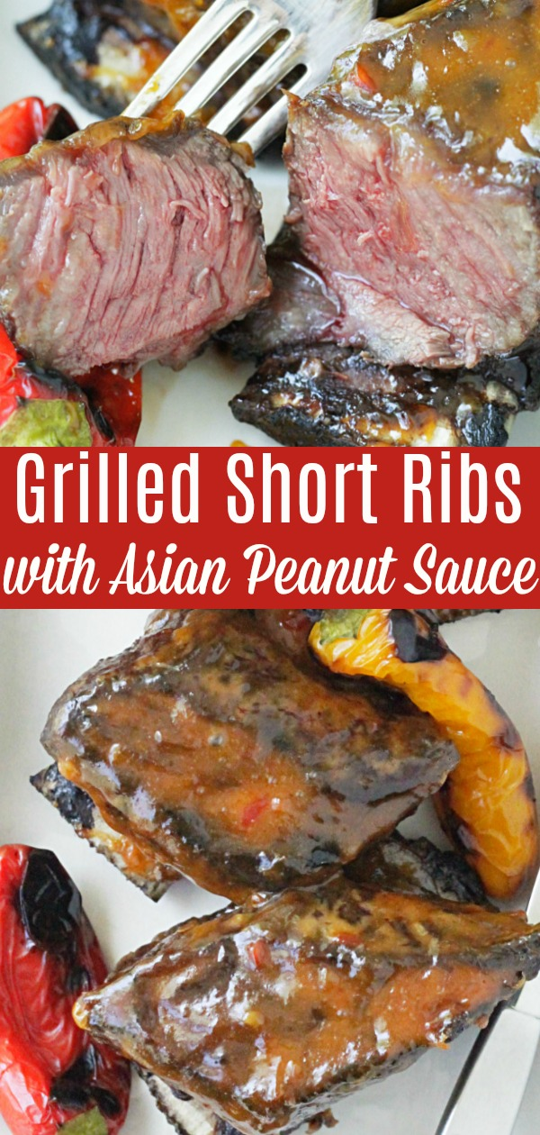 Grilled Short Ribs with Asian Peanut Sauce | Foodtastic Mom #shortribsrecipes #shortribs #grillingrecipes #grilledshortribs