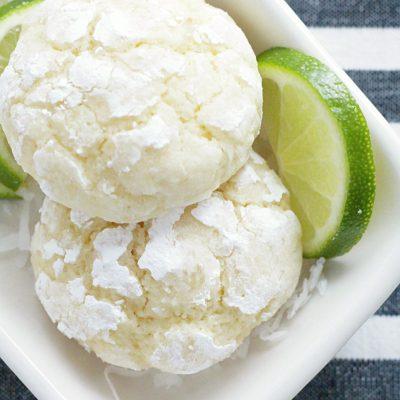 Coconut Key Lime Crinkle Cookies