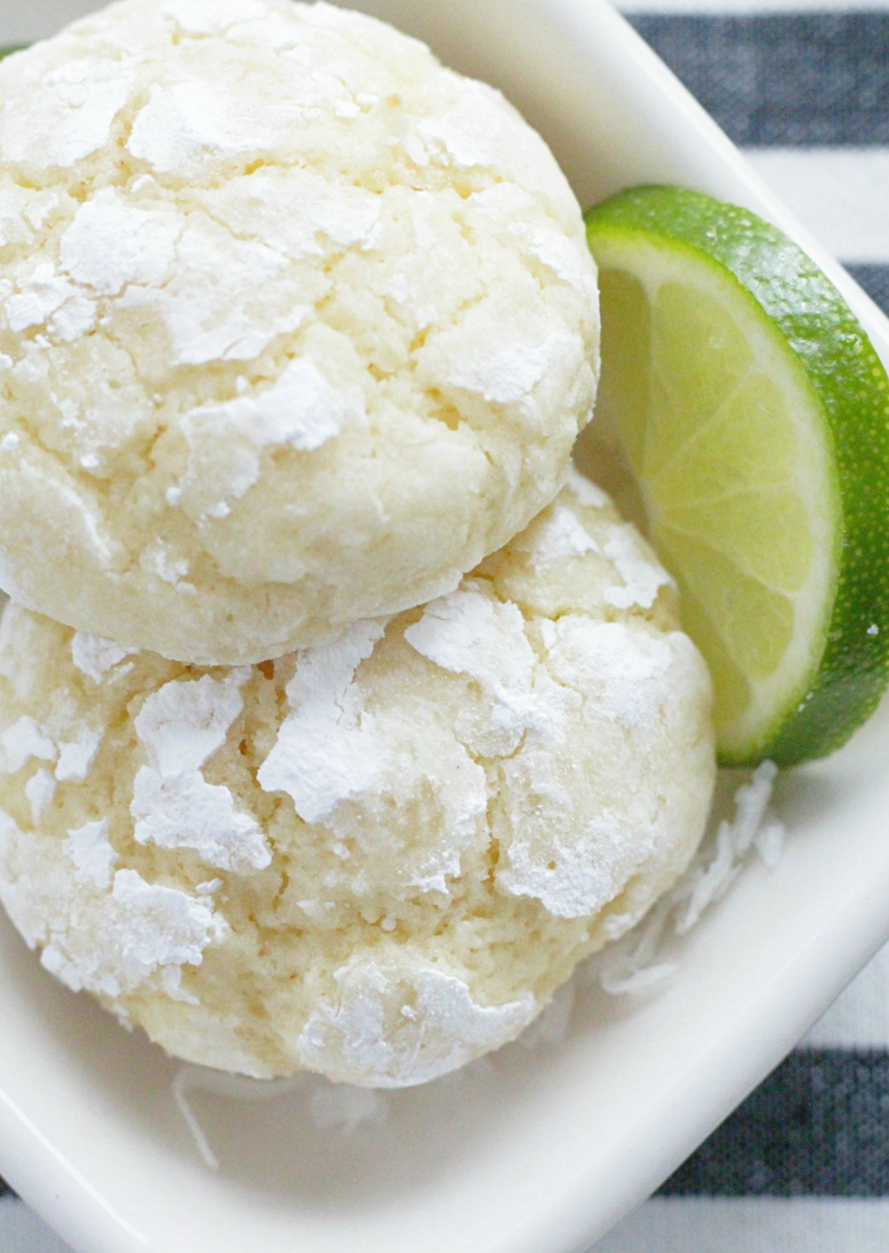 coconut key lime cookies close up