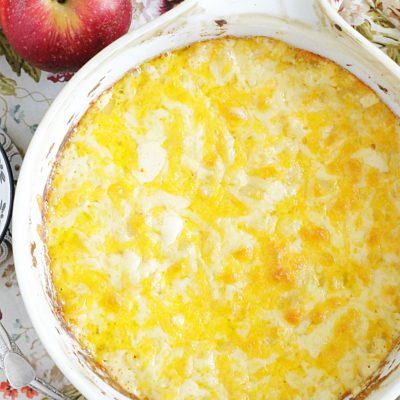 overhead view of macaroni and cheese in baking dish