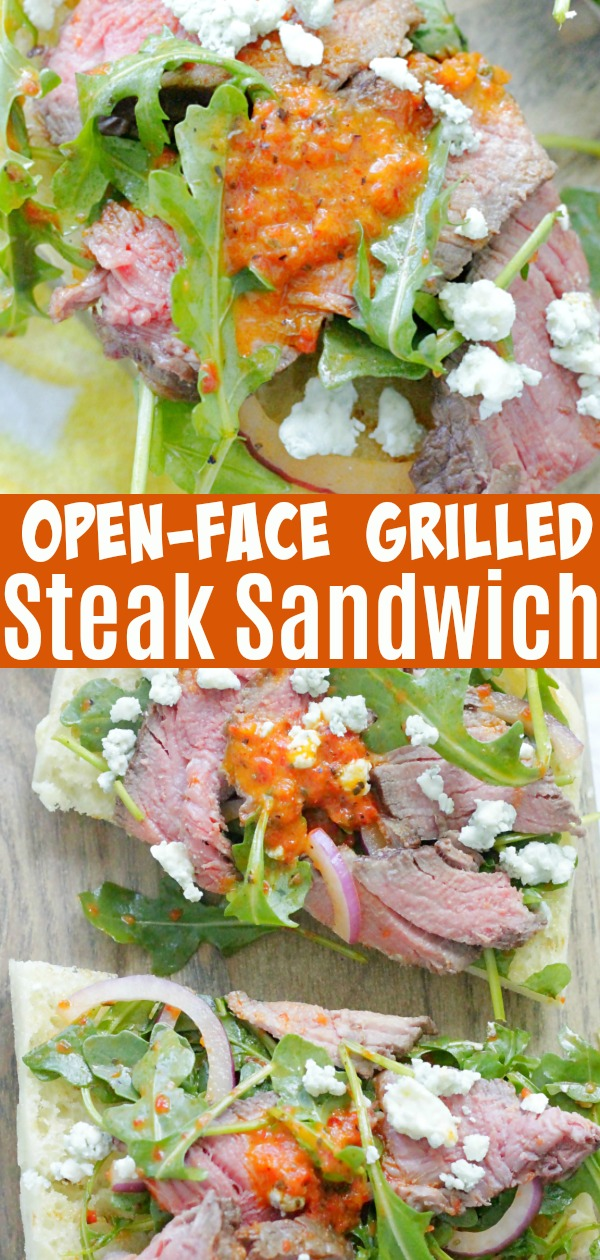 Open Face Grilled Steak Sandwich with Roasted Red Pepper Vinaigrette | Foodtastic Mom #ad #ohiobeef #steak #grillingrecipes #steaksandwich #steakrecipes