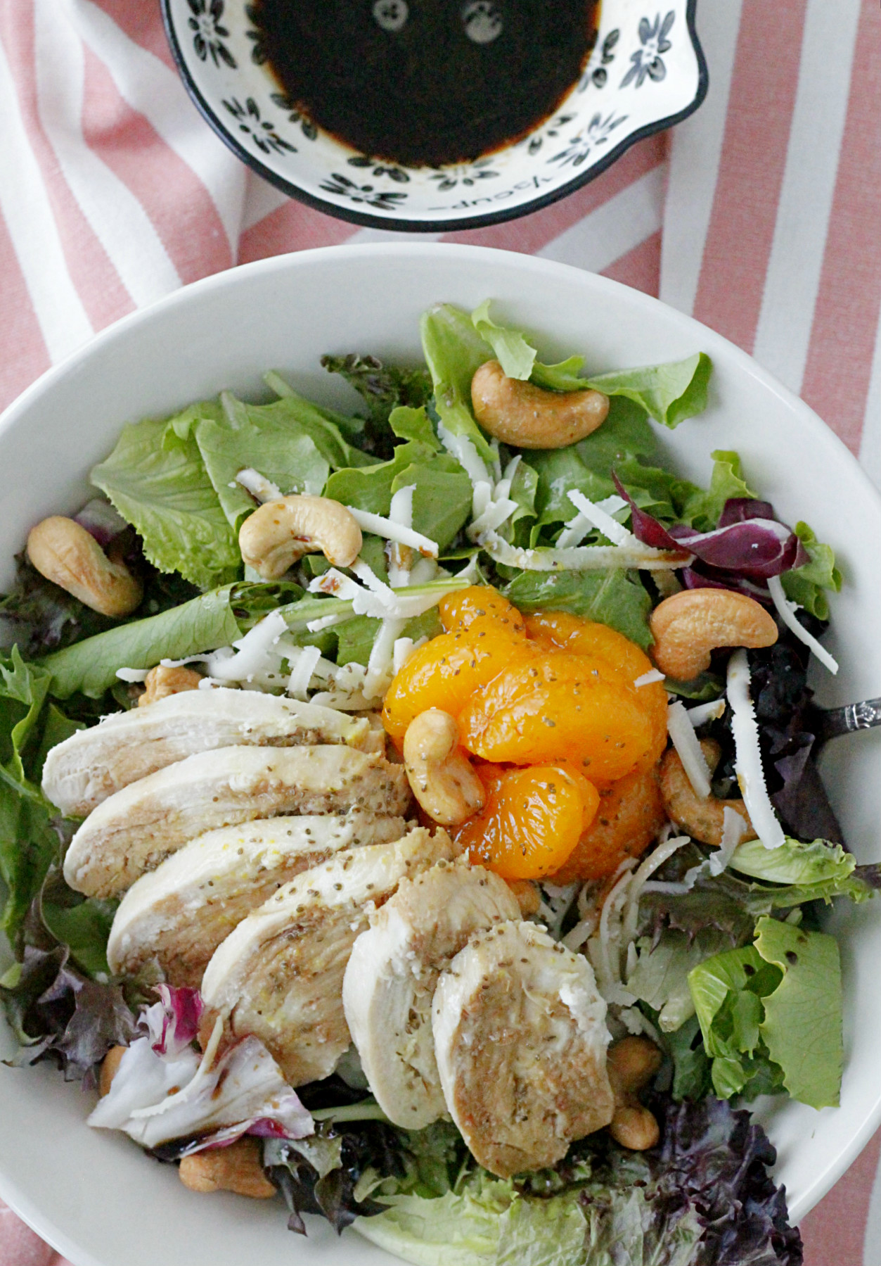 cashew chicken salad top view with dressing