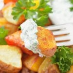 Perfect Oven Roasted Potatoes – with Creamy Herb Dipping Sauce