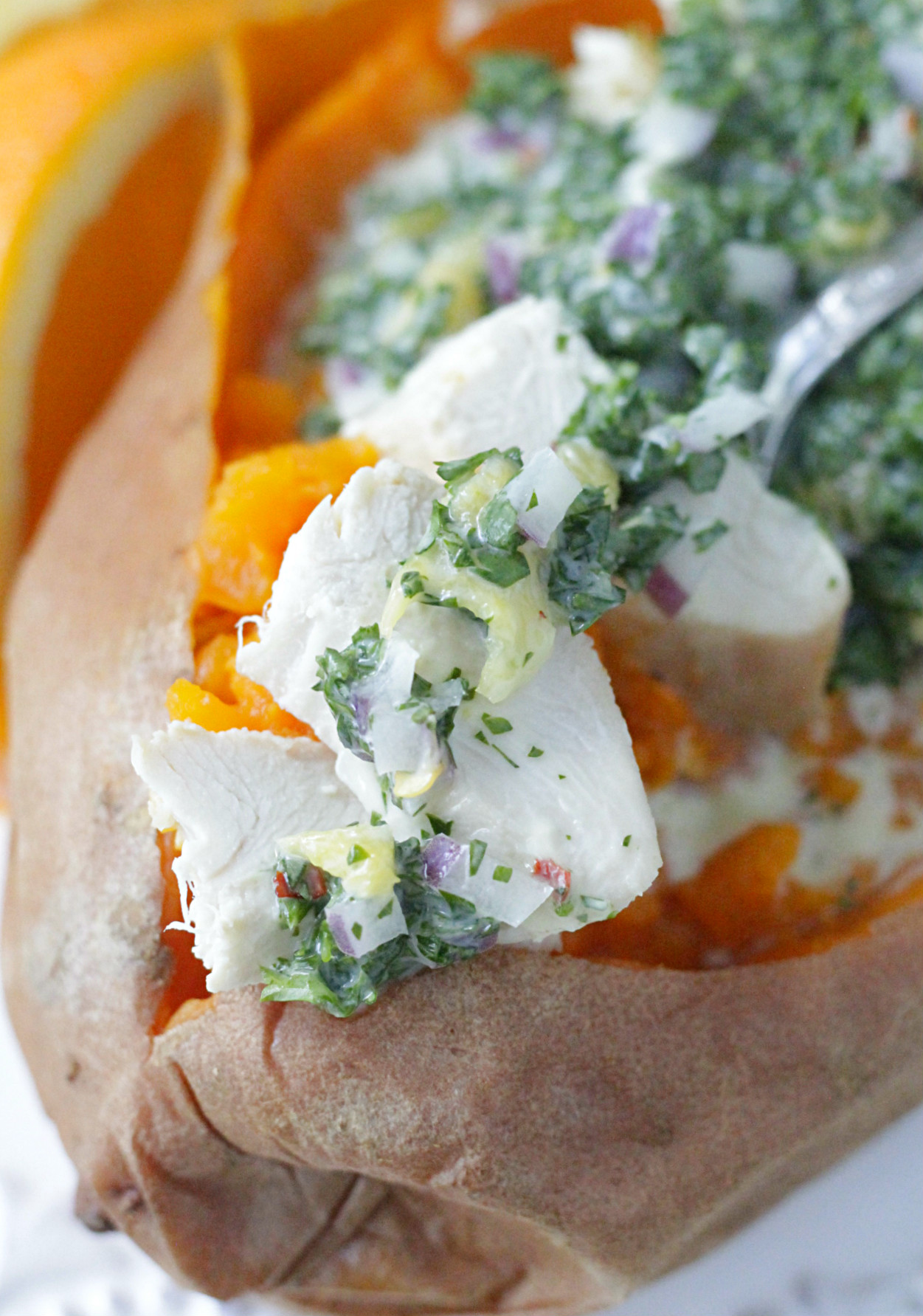 creamy chimichurri chicken stuffed sweet potatoes