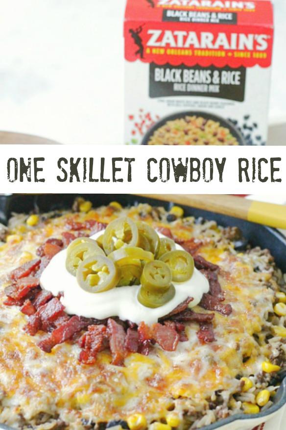 One Skillet Cowboy Rice | Foodtastic Mom #rice #ricerecipes #onepotrecipes #oneskilletrecipes #ad