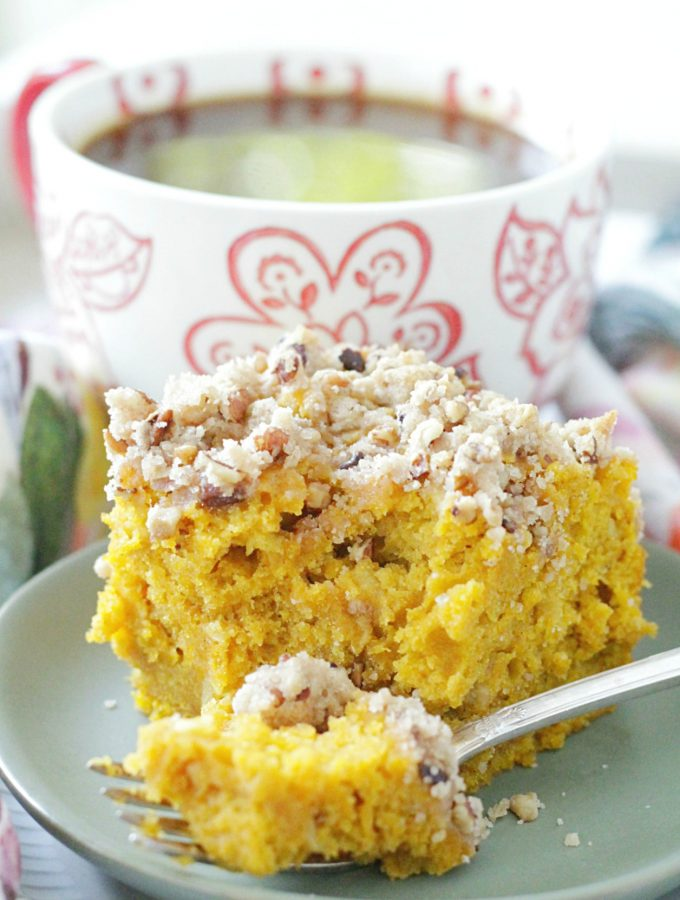 piece of pumpkin apple coffee cake with bite taken