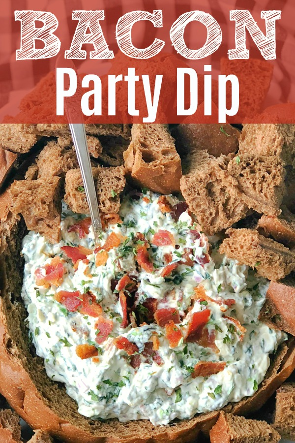 Bacon Party Dip in a Bread Bowl | Foodtastic Mom #ad #bacon #baconrecipes #bacondip