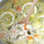 creamy lemon chicken gnocchi soup in pot