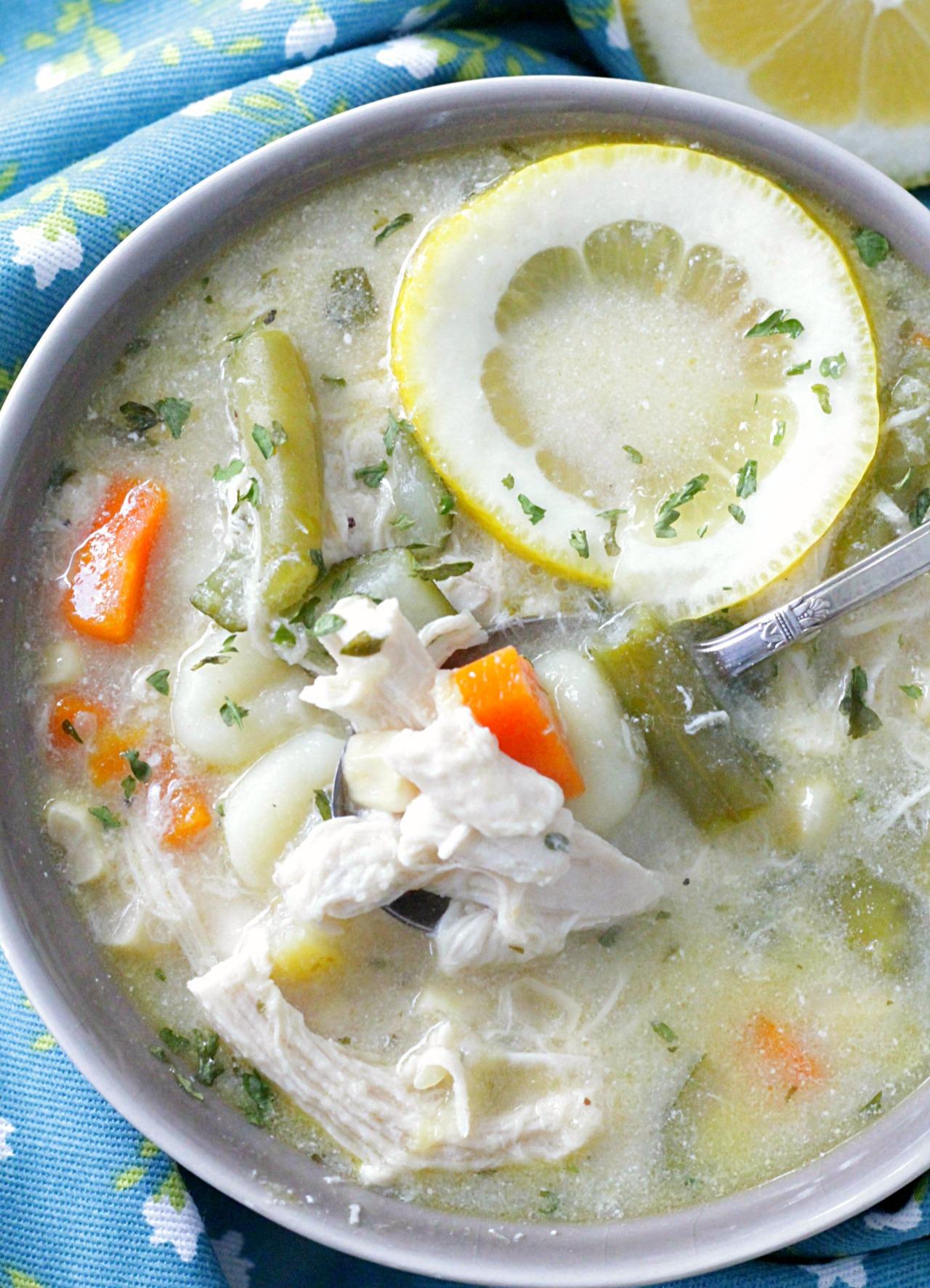 creamy lemon chicken gnocchi soup with lemon slice