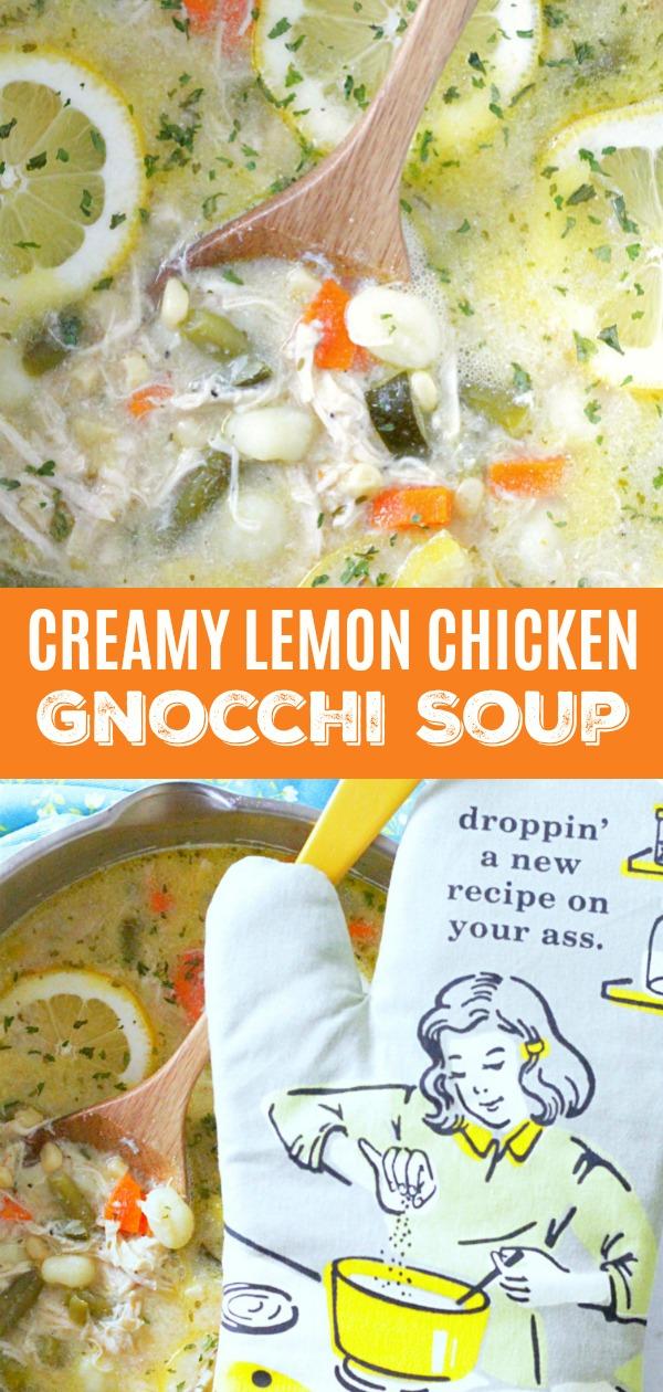 Creamy Lemon Chicken Gnocchi Soup | Foodtastic Mom #chicken #chickenrecipes #souprecipes #chickensoup #creamylemonchickengnocchisoup