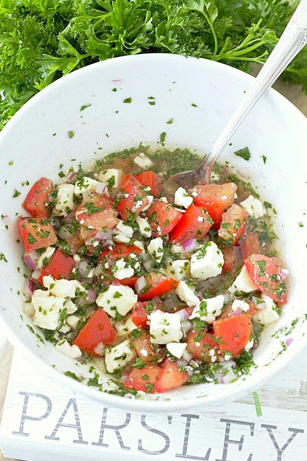 feta cheese and tomato topping for rice bowls