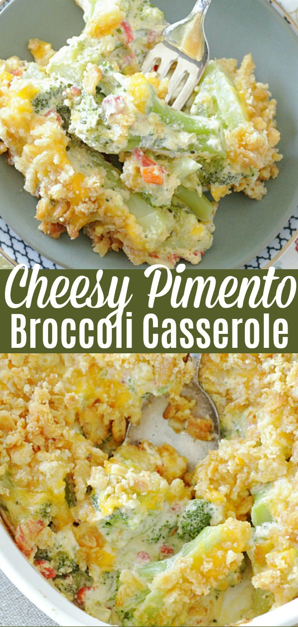 Cheesy Pimento Broccoli Casserole | Foodtastic Mom #broccolicasserole #thanksgiving #thanksgivingsides #broccolicasserolerecipe