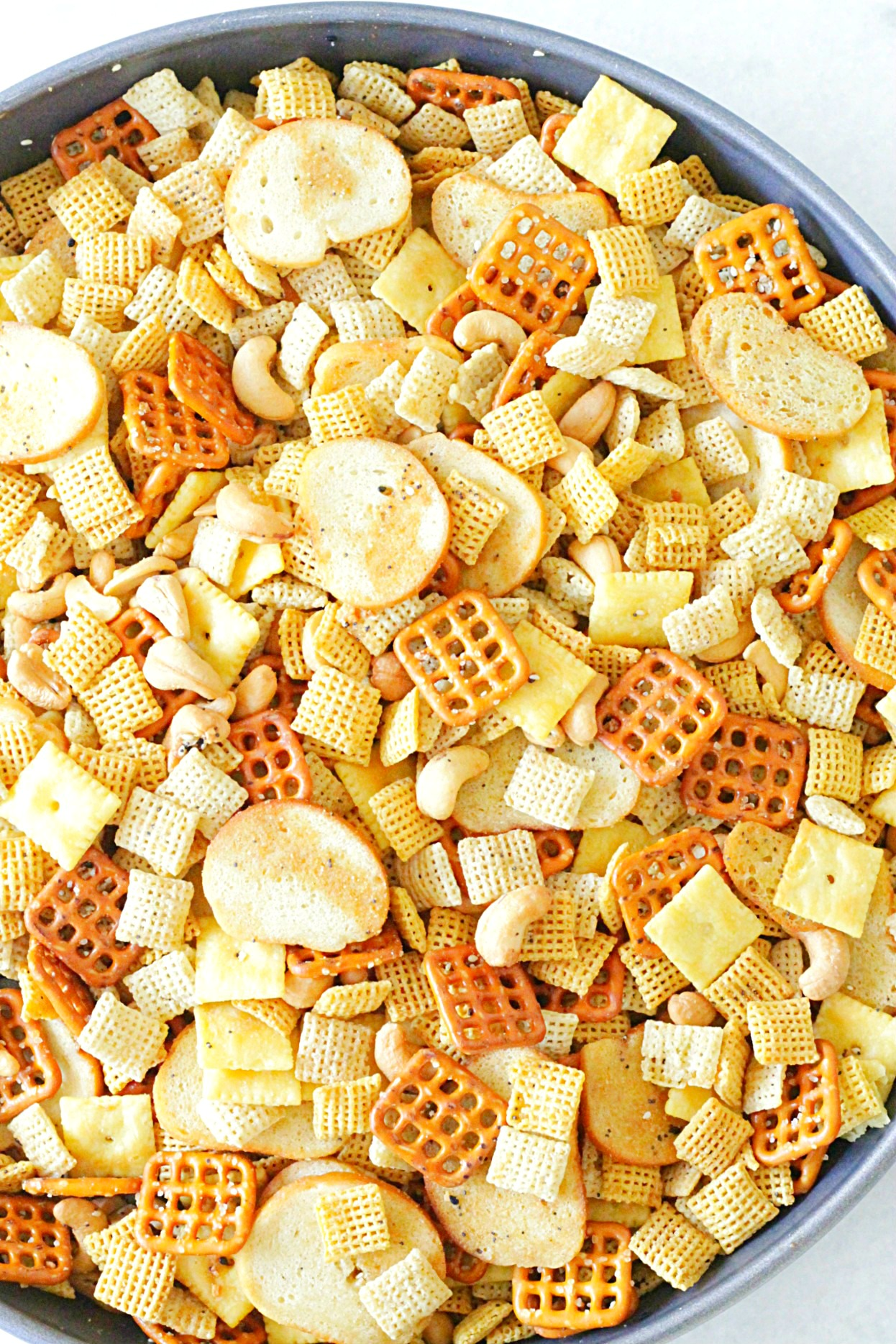 ultimate chex party mix in pan