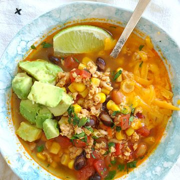 instant pot turkey taco soup in bowl with spoon