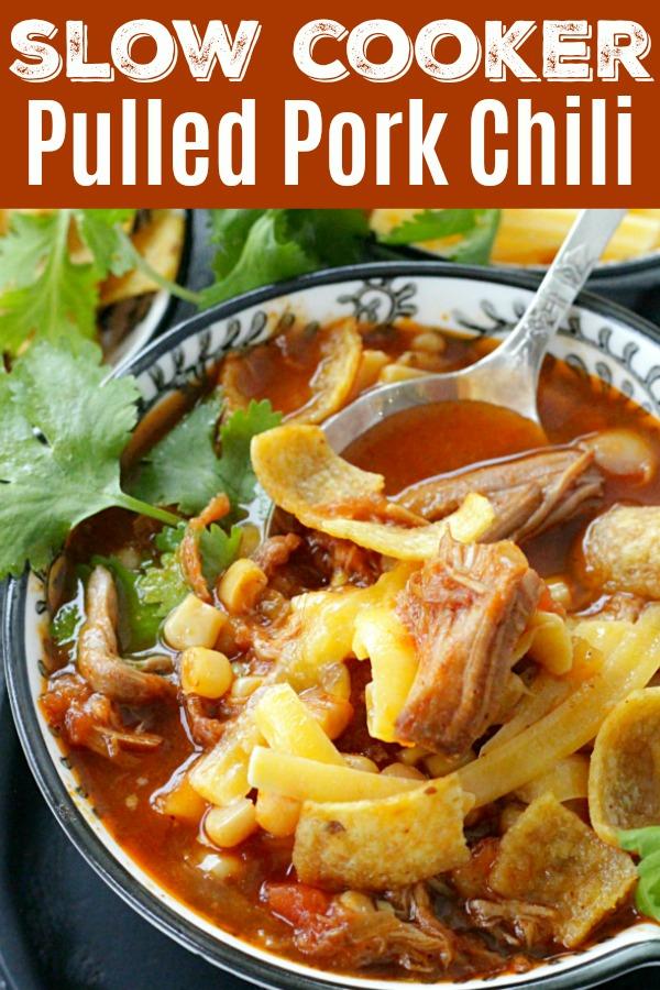 Slow Cooker Pulled Pork Chili | Foodtastic Mom #ad #ohiopork #pulledporkchili #chilirecipes #slowcookerchili #crockpotchili