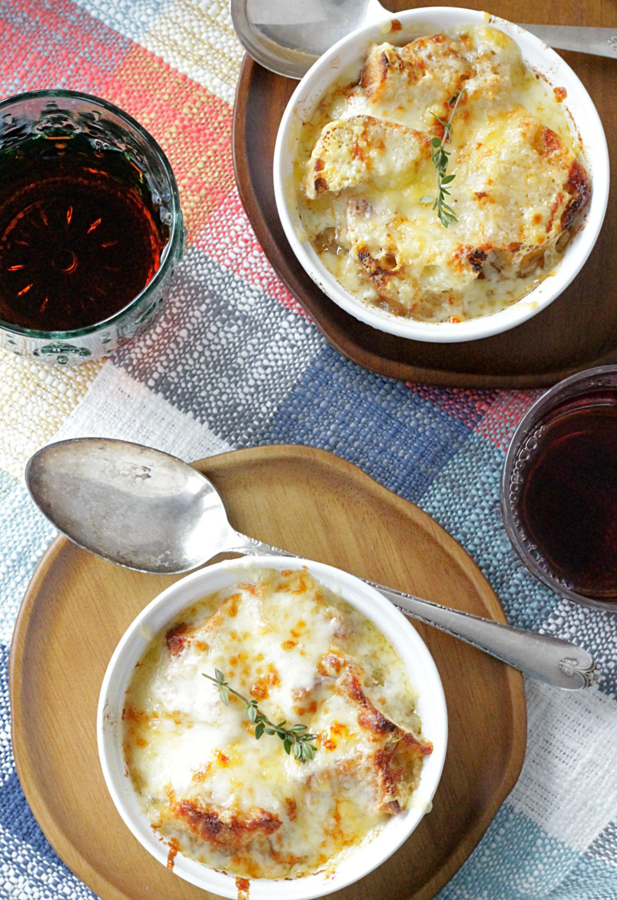 french onion chicken soup overhead view with two bowls