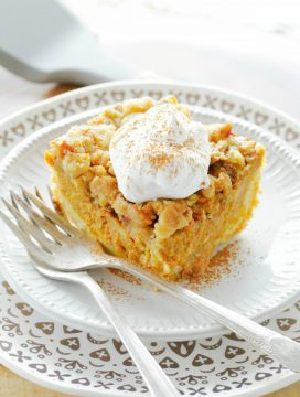front view of pumpkin pie dump cake