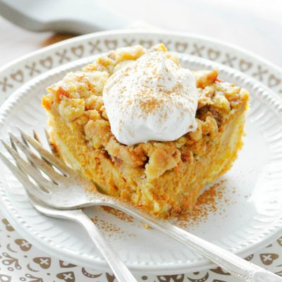 front view of pumpkin pie dump cake