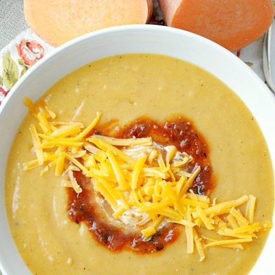 southwester sweet potato soup in bowl overhead view