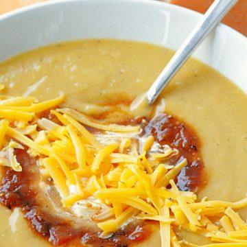 southwestern sweet potato soup side view