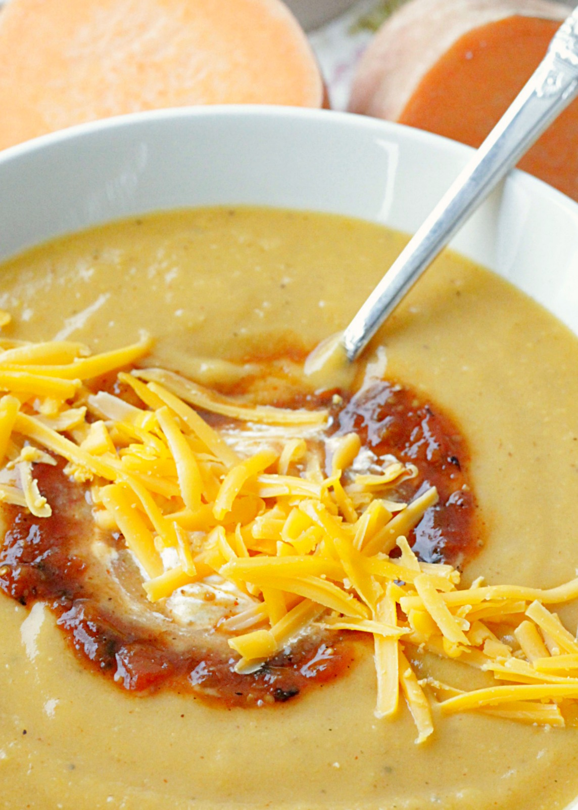 southwestern sweet potato soup side view