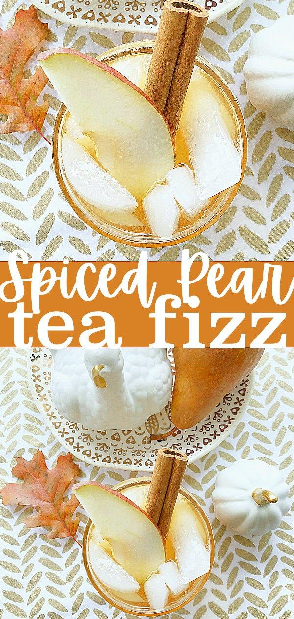 Spiced Pear Tea Fizz | Foodtastic Mom #thanksgiving #thanksgivingrecipes #icedtea #icedtearecipes #holidaydrinks via @foodtasticmom
