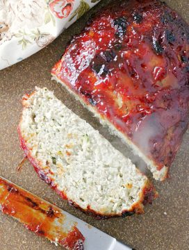 turkey meatloaf on cutting board