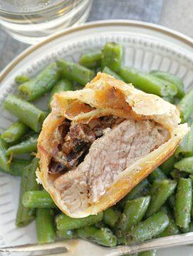 individual pork wellingtons recipe, wellington sliced in half