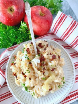 Bacon Apple Risotto with Goat Cheese | Foodtastic Mom #ad #neatnest #farberware #neatnestfortheholidays
