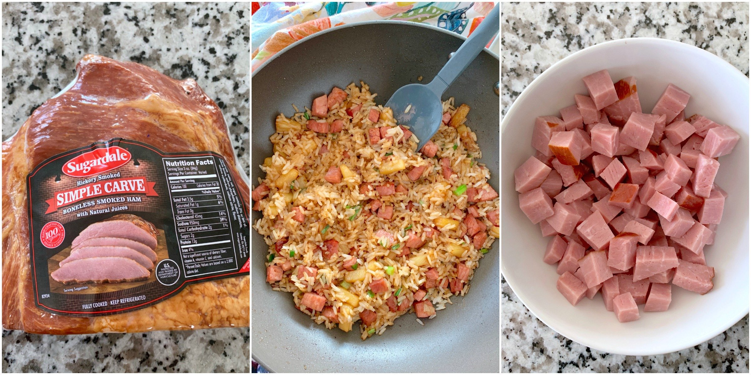 easy fried rice with ham and pineapple collage