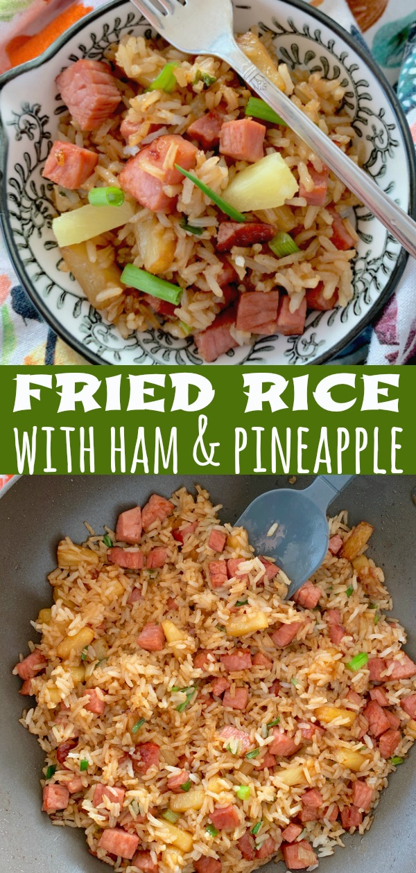 Easy Fried Rice with Ham and Pineapple | Foodtastic Mom #ad #ohiopork #friedrice #hamfriedrice