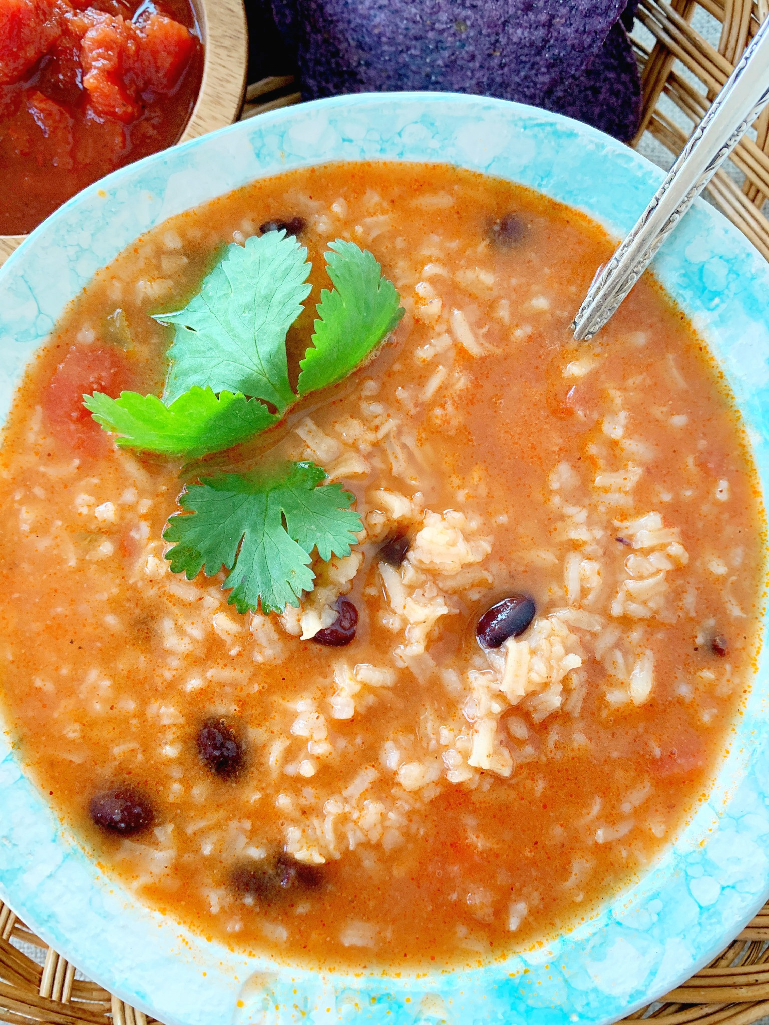 mexican rice and bean soup in a bowl