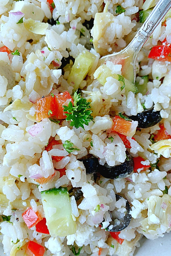 close up of greek rice salad