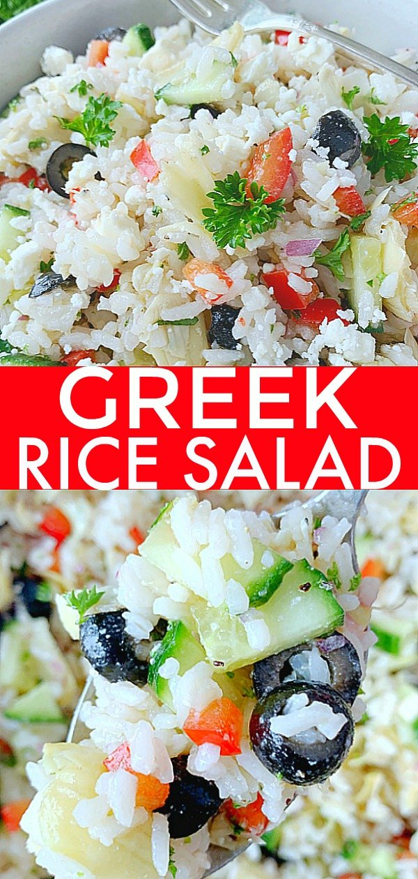 Greek Rice Salad | Foodtastic Mom #ricerecipes #ricesalad