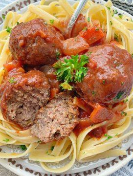 beef bourguignon meatballs cut in half