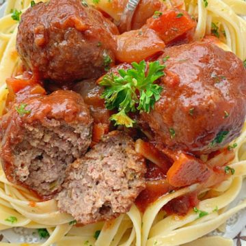 beef bourguignon meatballs cut in half