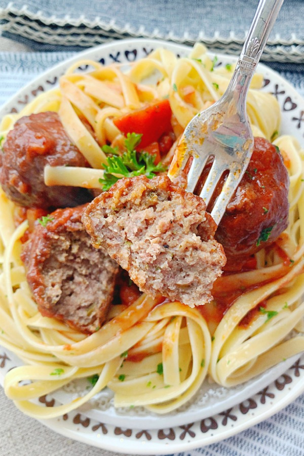 beef bourguignon meatballs on fork
